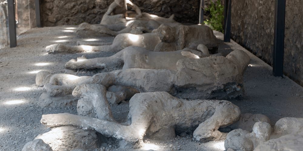 People were burnt alive in Pompeii
