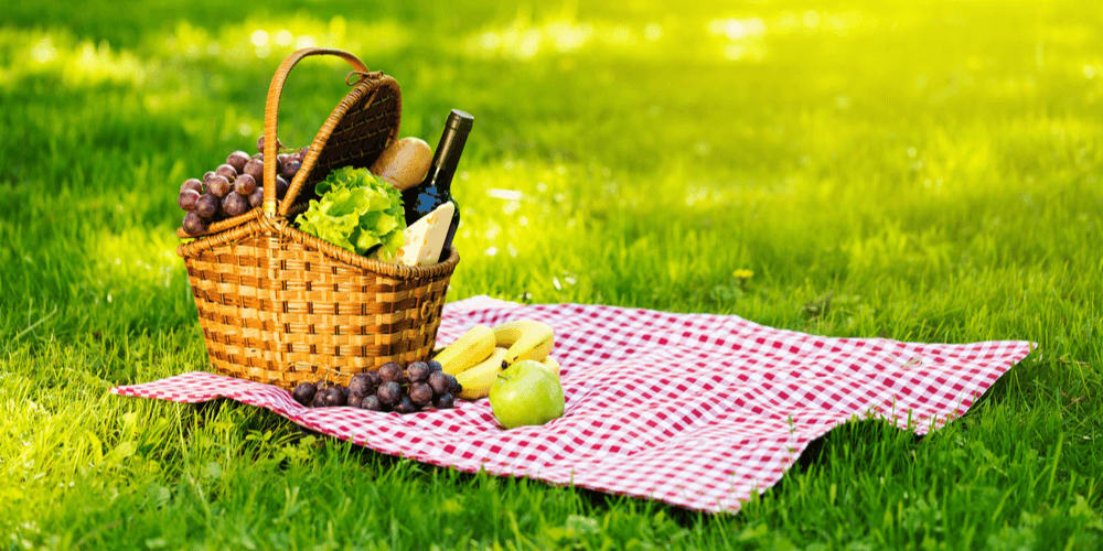 Fill your picnic basket with foods, utensils, and such