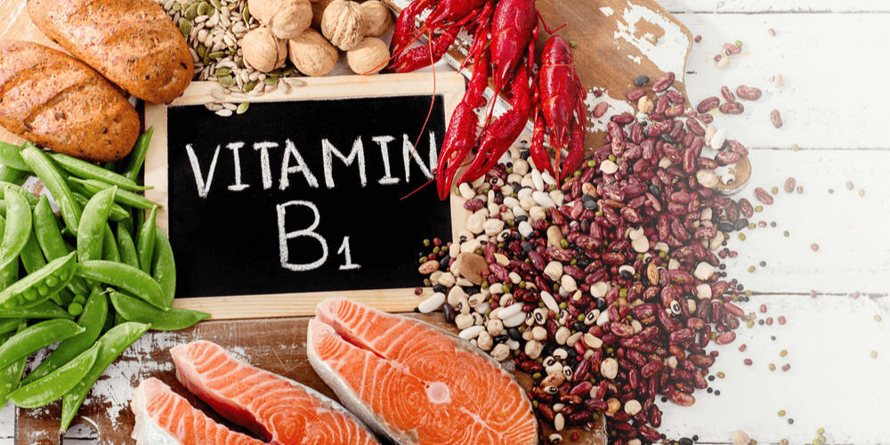 Vitamin B1 is found in baked goods, oats, rye and buckwheat, beans and nuts, egg yolks, beef, and pork.