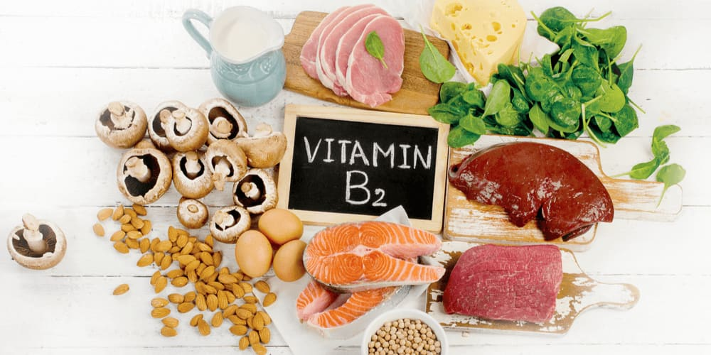 Vitamin B2 is found in milk, meat, fish, cereals, fresh veggies, and yeasts