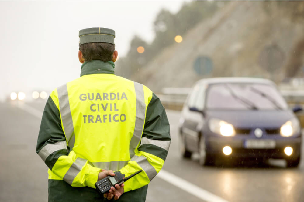 Traffic officer on a road in Madrid, Spain