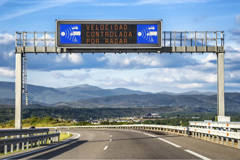 Radar Traffic Road Sign in Spain
