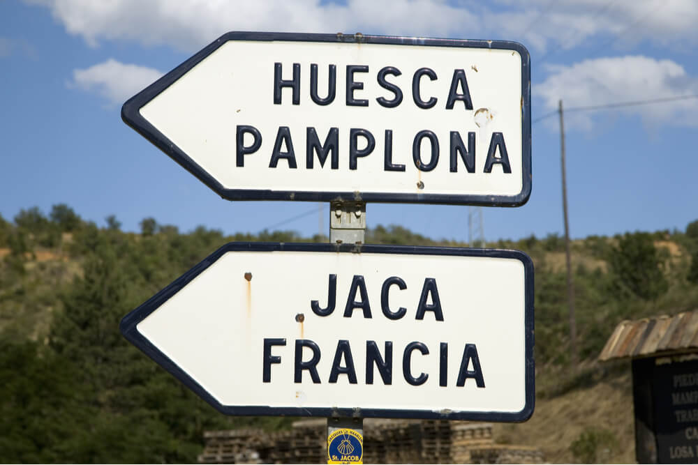 Road sign in the Pyrenees, Spain