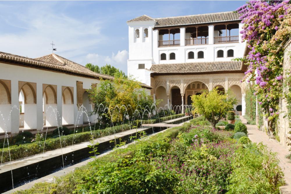 "The ""Patio de la Acequia"" in the Generalife gardens, part of the Alhambra complex in Granada"