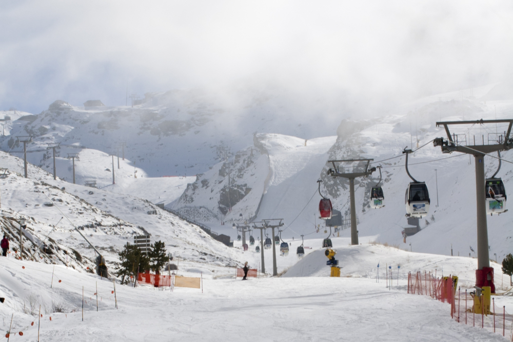 Ski slopes in the Sierra Nevada mountains, Andalucia, southern Spain