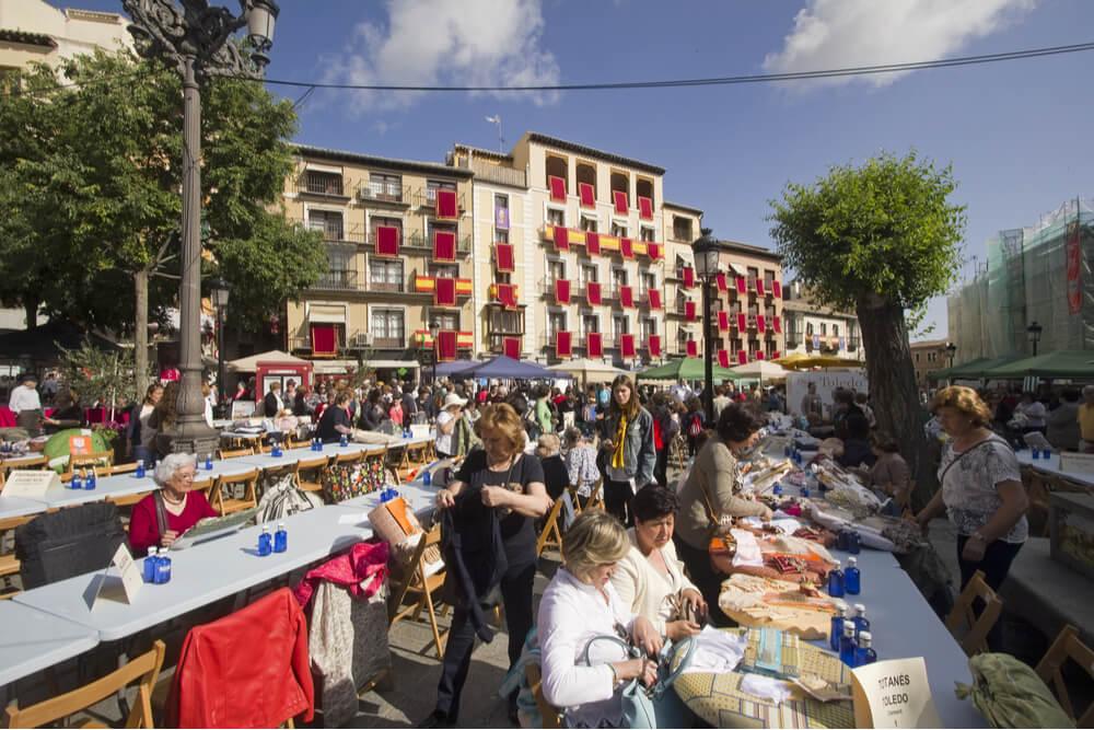 Handicraft market in La Plaza de Zocodover in Toledo, Spain