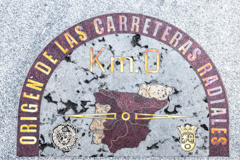 Kilometer zero sign is located on the pavement in Puerta del Sol square, in Madrid, Spain. It is the starting point for measuring distance in Spain