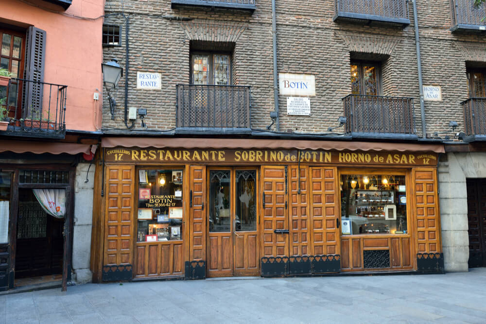 Sobrino de Botín is the oldest restaurant in world; it was founded by a French man Jean Botin in 1725. Ernest Hemingway, in his travels to Spain, often visited the place