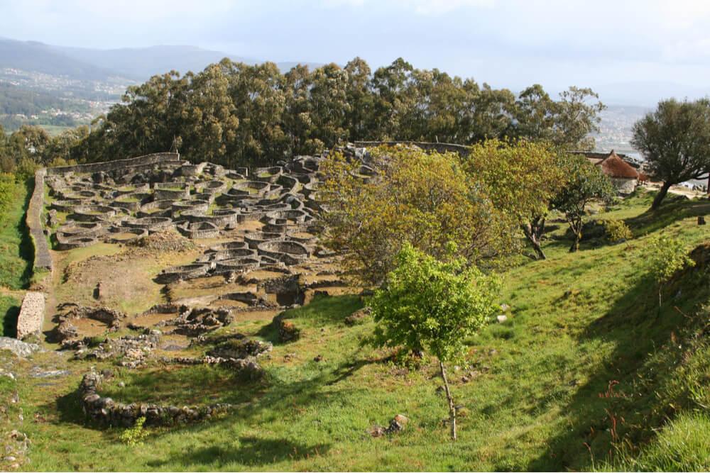Ruins of the ancient Celtic hillfort of Castro de Santa Tecla.