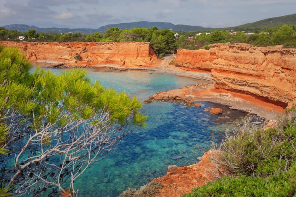 View of Ibizan orange-colored cliffs