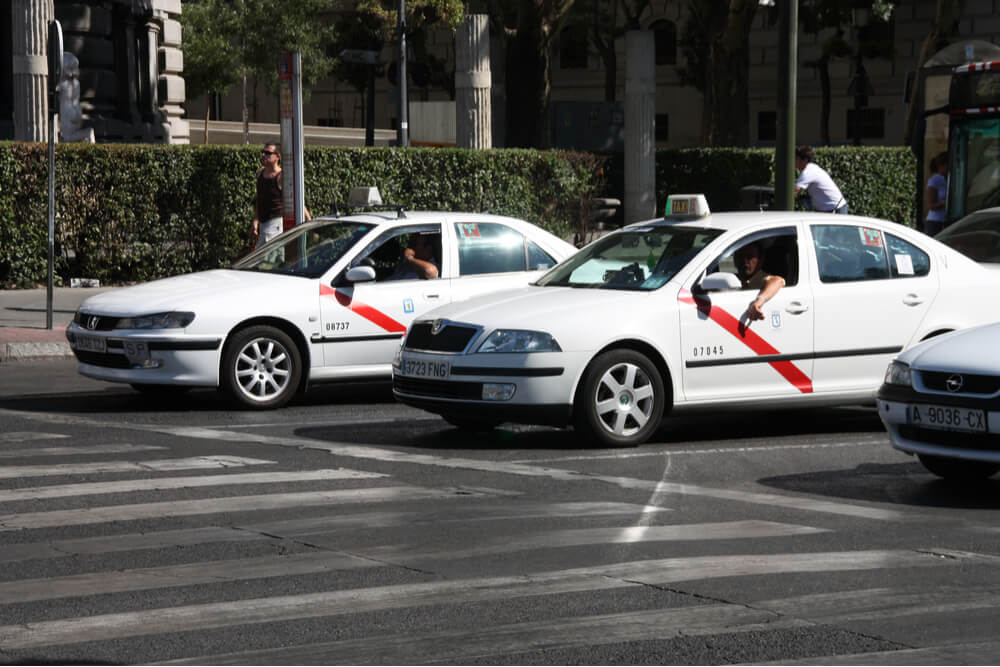 Taxi cabs in Madrid, Spain