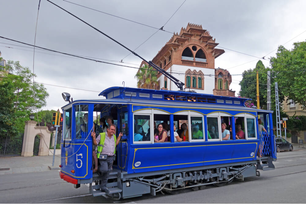 Tramvia Blau to Tibidado hill in Barcelona is one of the oldest and most famous streetcars in the world