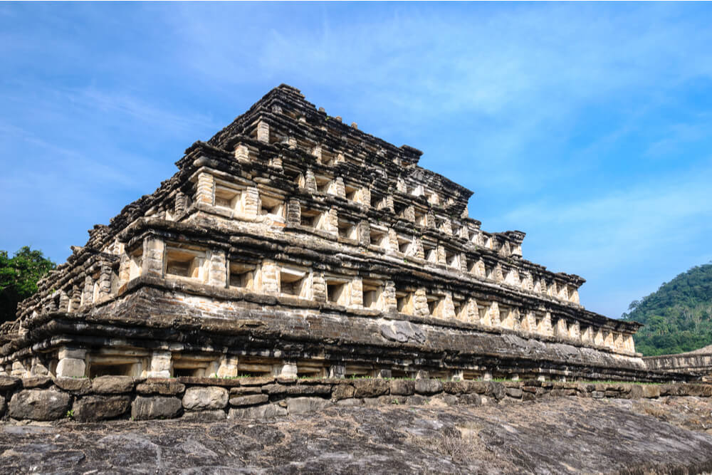 the Pyramid of the Niches is 66 feet high and consists of seven big layers