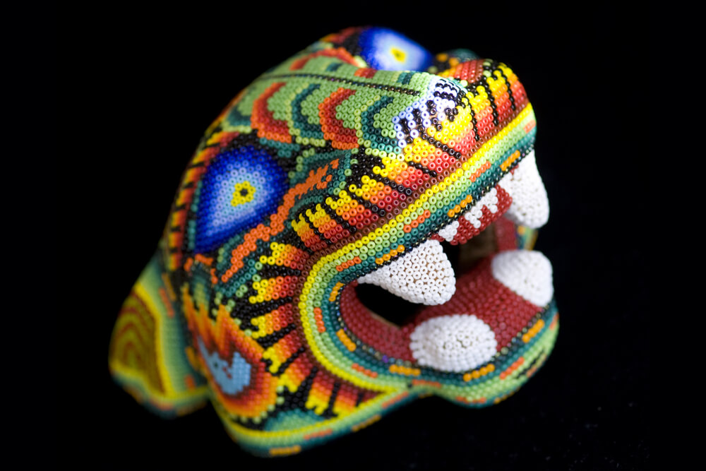 Modern Huichol bead art relies on commercially produced beads