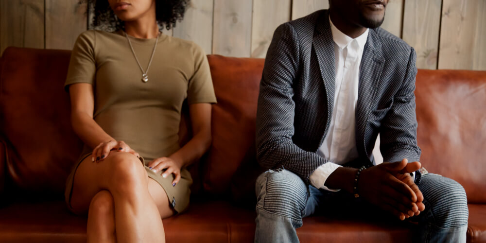 Dark-skinned man and woman
