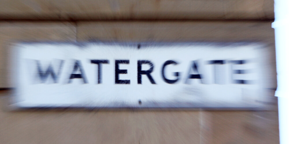 Watergate street sign with zoom effect