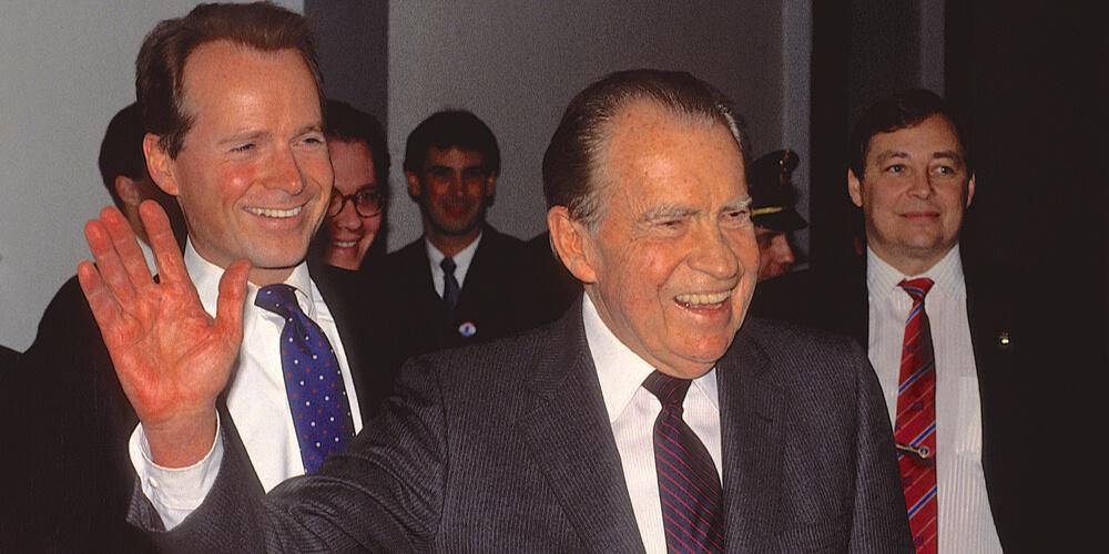Washington, DC. USA, 1990 Former President Richard Milhous Nixon accompanied by Congressman David Dreier (R) CA.