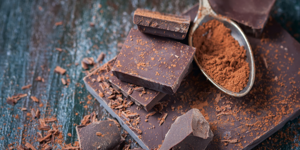 dark chocolate and cocoa powder