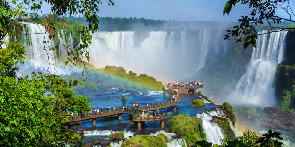 the iguazu waterfalls between Argentina and Brazil