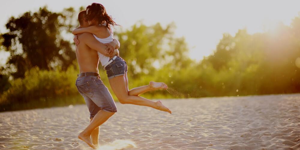 Couple on a beach in summer