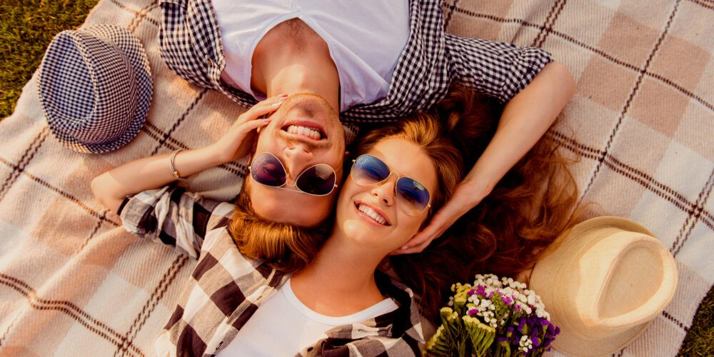 Happy couple in summer