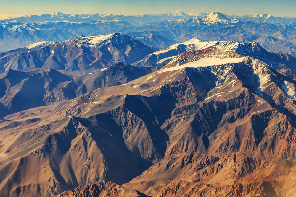 An aeroplane view of the Andes
