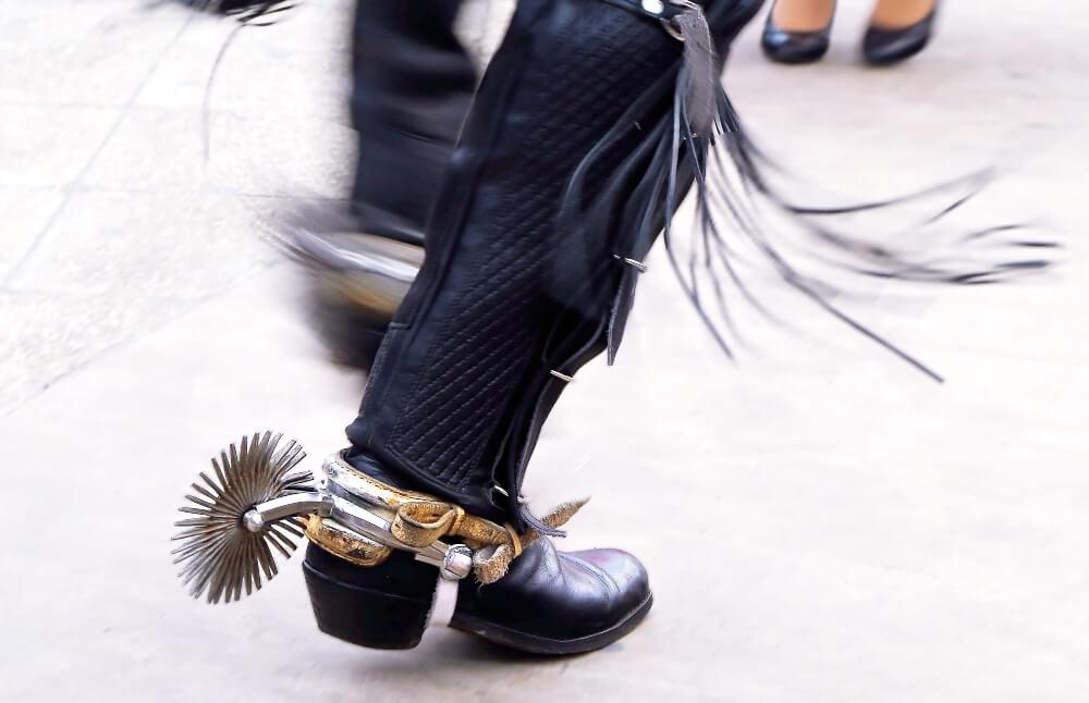 Chilean cueca dancers in traditional spur boots, Santiago de Chile