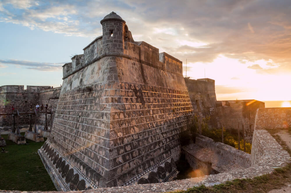 Castillo de San Pedro de la Roca (Castillo del Morro) castle during the sunset, Santiago de Cuba, Cuba
