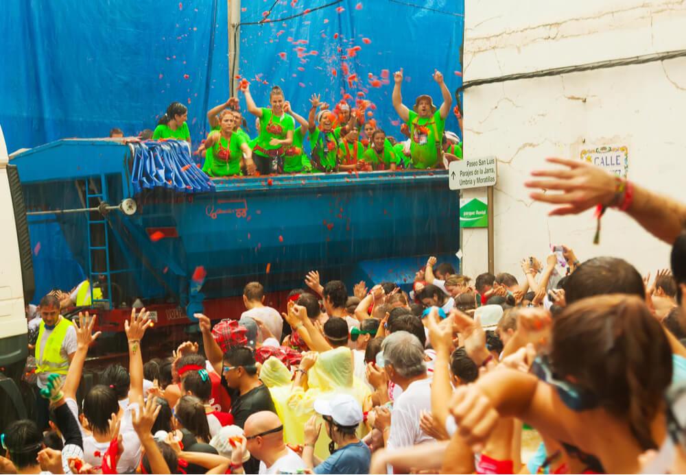 Beginning of La Tomatina festival, August 28, 2013 in Buñol, Spain