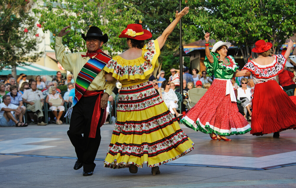 Cinco De Mayo Festival dancers performing in the town square of The Villages in Florida, USA