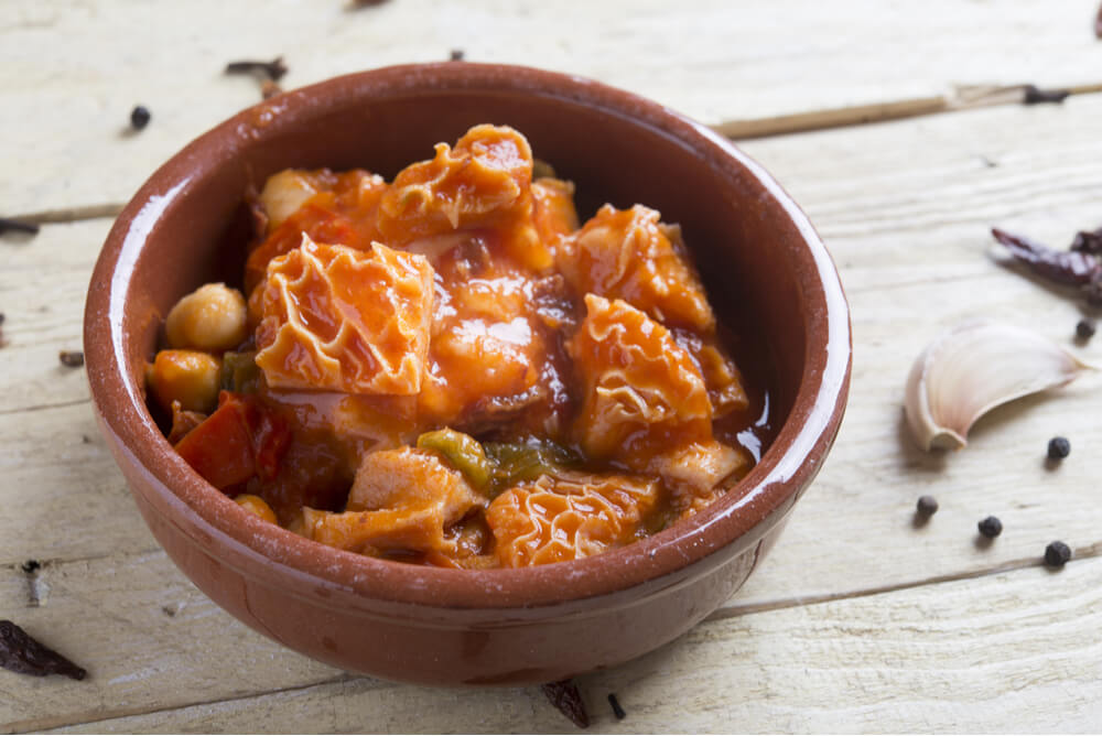 Callos a la Madrileña is a popular Spanish tapa stew cooked with tripe and chickpeas