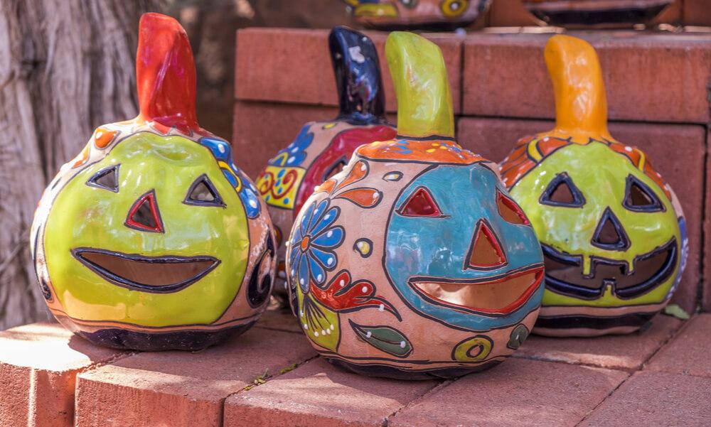 Talavera jack-o'-lanterns will give a folk feel to your Halloween décor