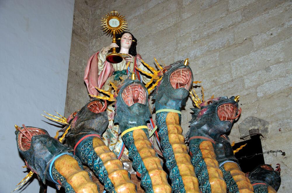 Statue of Tarasca in the Santa Maria church, Antequera, Malaga Province, Andalucia, Spain