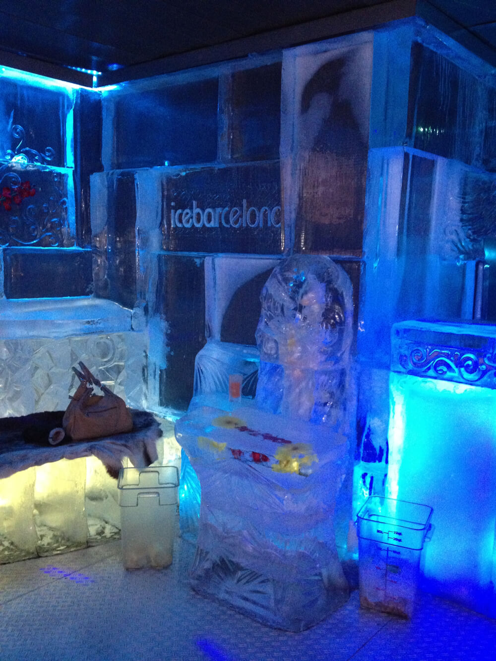 IceBarcelona, the world's first Ice bar at the beach; it is completely made of ice (walls, furnishing, bar) and kept at a temperature of -5°C