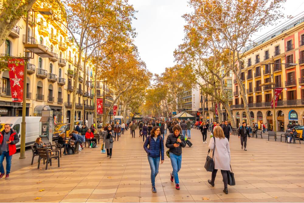 La Rambla is a pedestrian street in central Barcelona, between El Raval and Barri Gotic districts