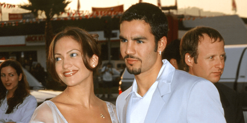 """Jennifer Lopez and Ojani Noaat the """"Men in Black"""" Premiere at the Cinerama Dome on June 25, 1997 in Los Angeles, CA"""