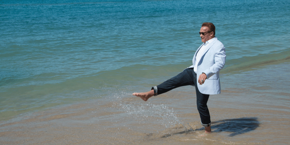 """Arnold Schwarzenegger at the photocall for """"Wonders of the Sea 3D"""" on the beach at the 70th Festival de Cannes"""