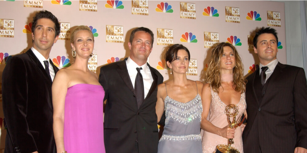 """""""Friends"""" actors at the 2002 Emmy Awards in Los Angeles"""