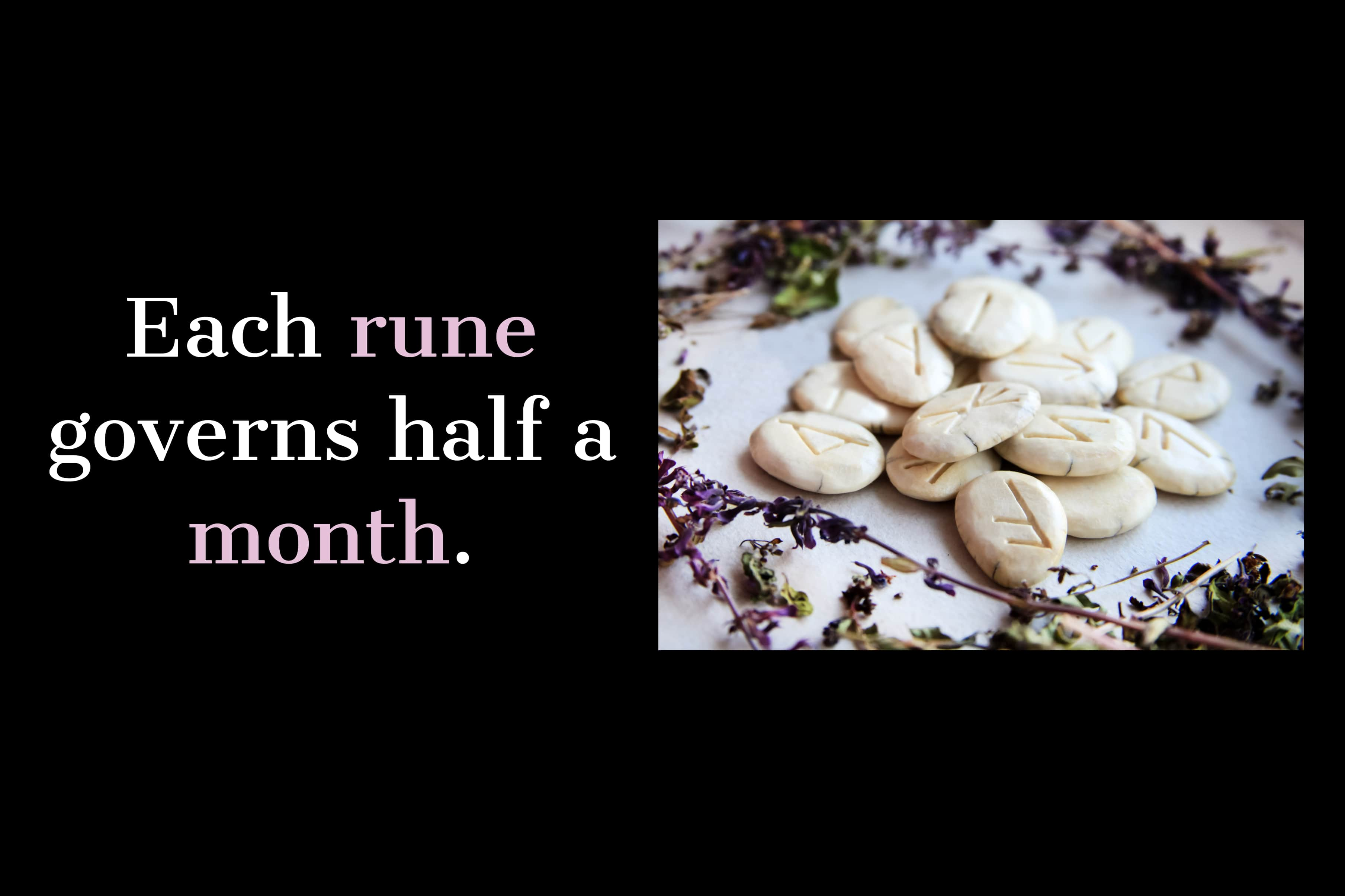 Scandinavian runes - handmade dies surrounded by dried flowers
