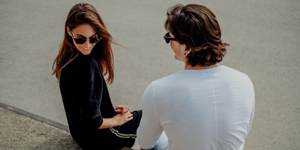 Flirting man and girl