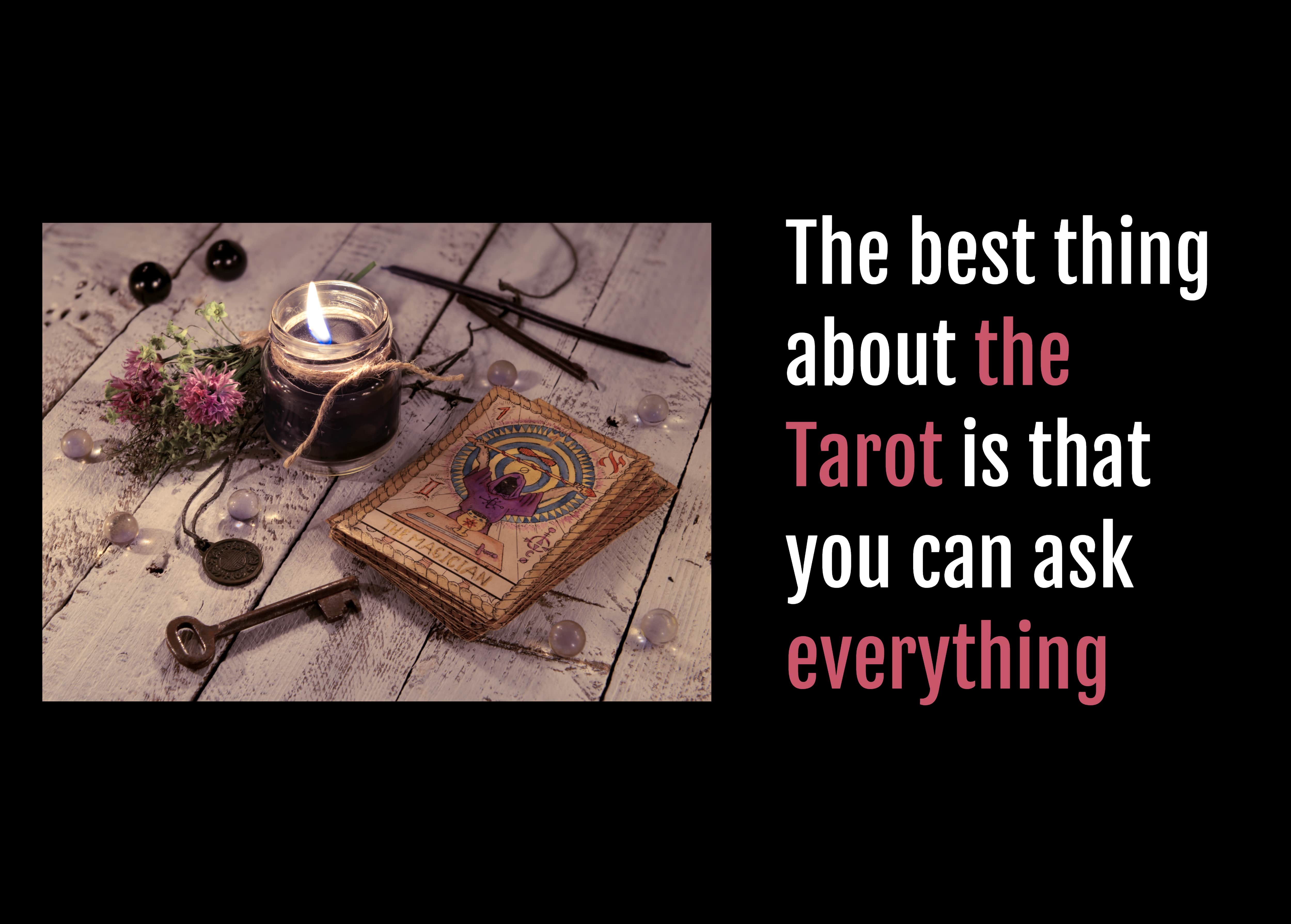 a Tarot card deck on a wooden table