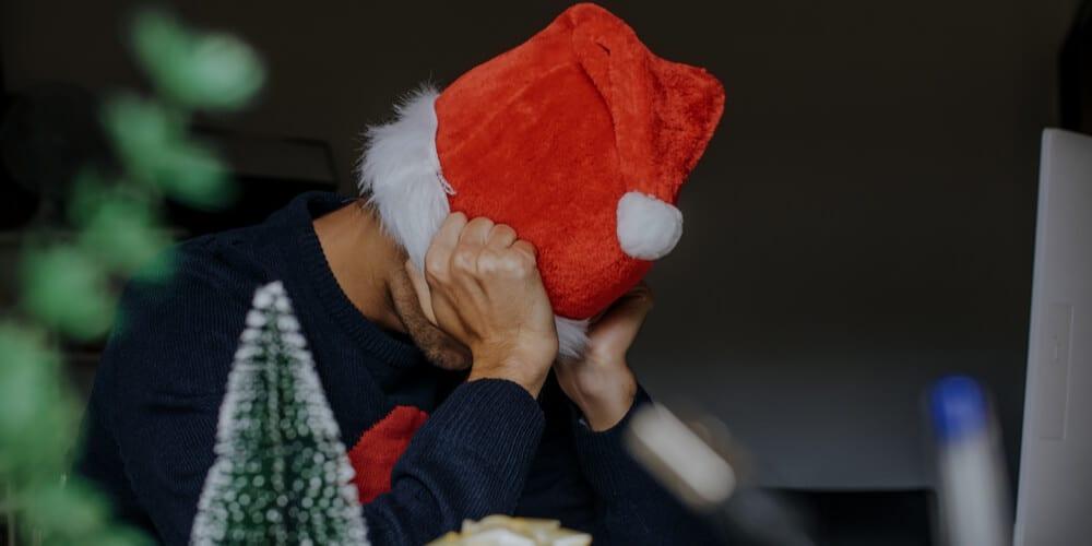 Tired man at Christmas
