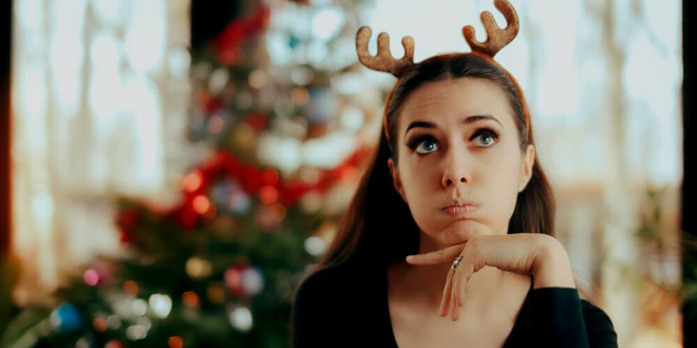 Bored woman at Christmas