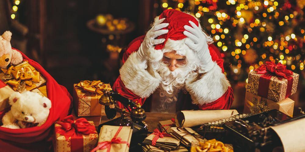 Tired Santa at Christmas