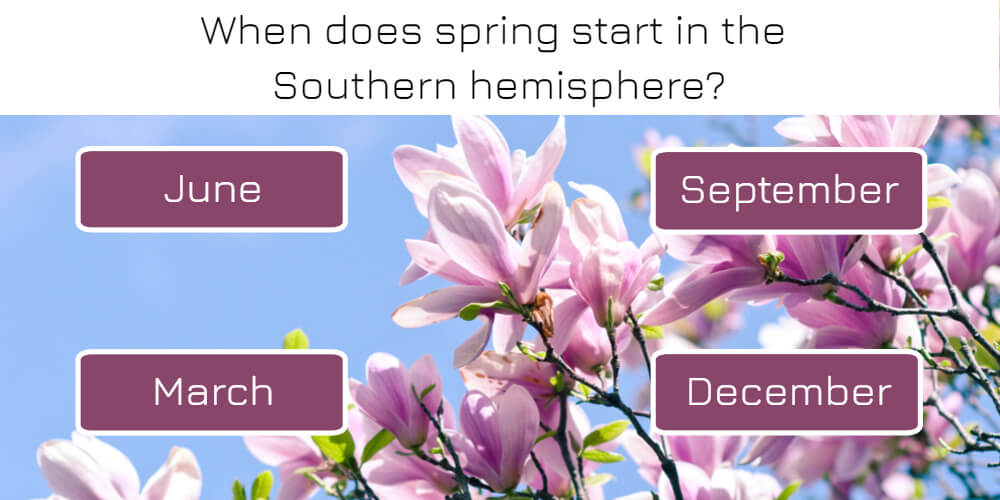 When does spring start in the Southern hemisphere?