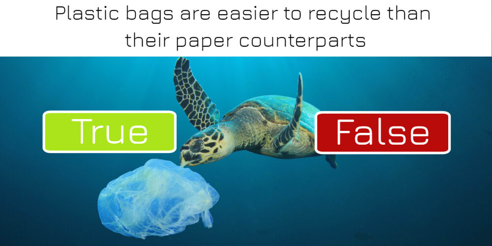 Plastic bags are easier to recycle than their paper counterparts: true or false? Answer now!