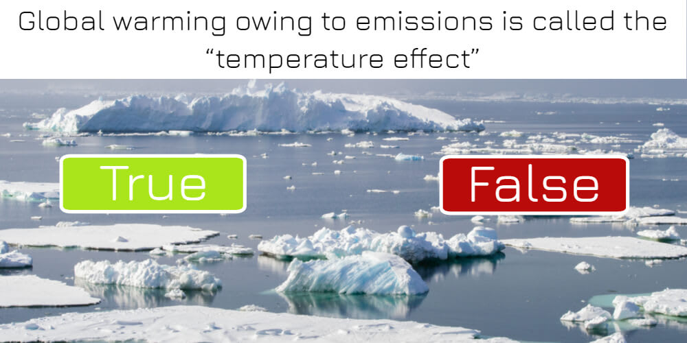 """Global warming owing to emissions is called the """"temperature effect"""": true or false? Answer now!"""