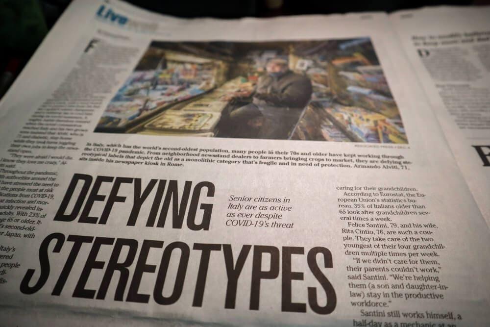 Newspaper on a dark bakground