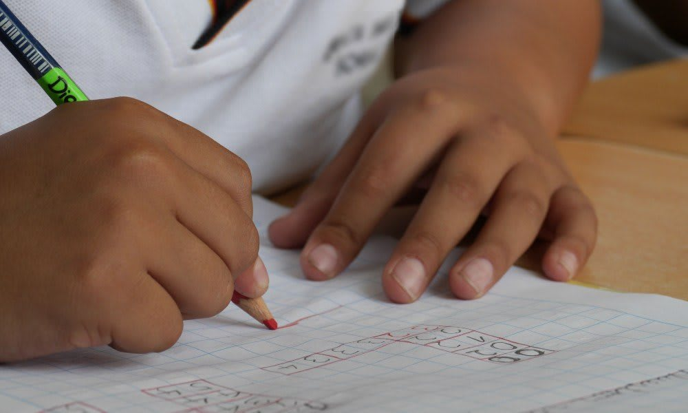 A student working to solve a problem