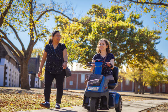 woman with mobility equipment hire